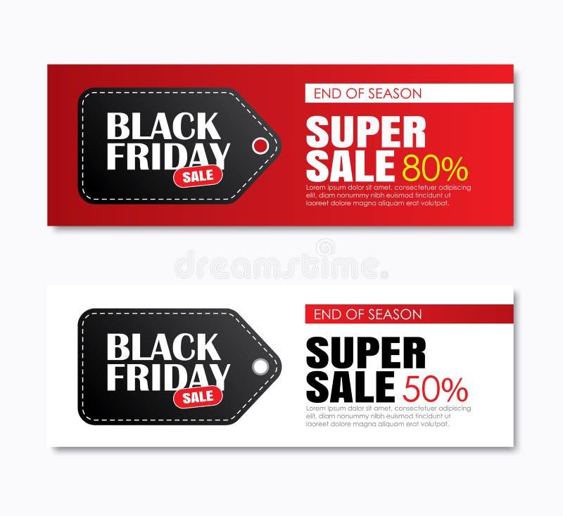 La copertura dell'etichetta di acquisto di vendita di venerdì e l'insegna nere di web progettano il templ illustrazione vettoriale