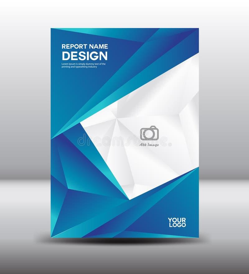 La copertura di bianco e del blu progetta e riguarda il rapporto annuale, mosca dell'opuscolo illustrazione di stock
