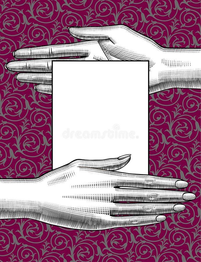 La copertura e l'insegna con due donne che il ` s passa la palma giù passano la palma sulla h royalty illustrazione gratis
