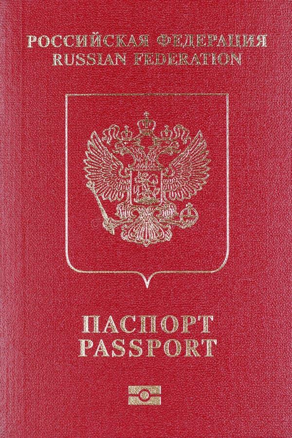 La copertura rossa del passaporto internazionale del primo piano di Federazione Russa fotografie stock