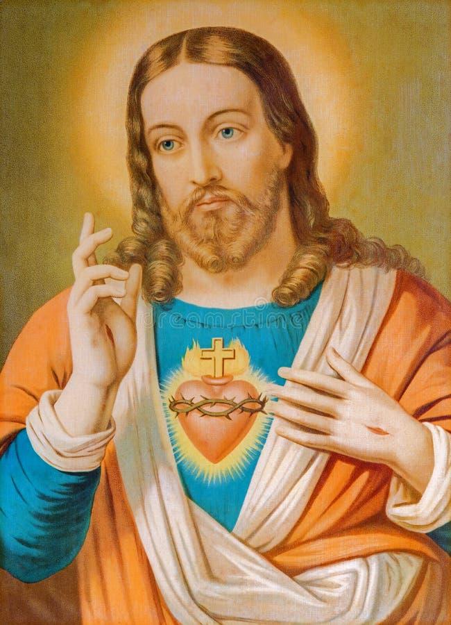 La copie de l'image catholique typique du coeur de Jesus Christ de Slovaquie a imprimé sur 19 photos stock