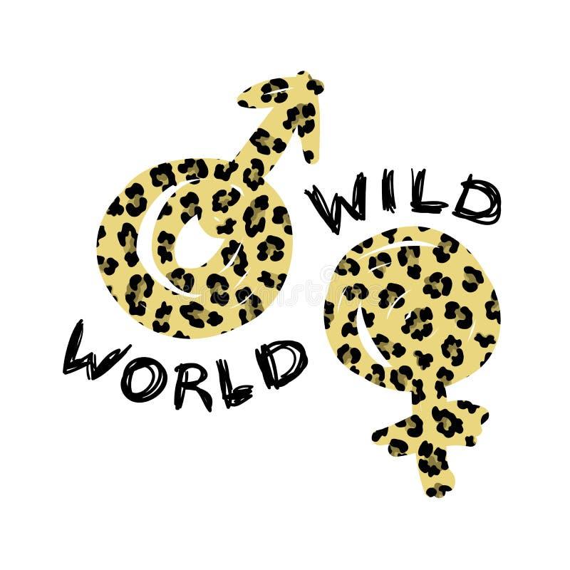 La copie de T-shirt avec le monde sauvage de mot et les symboles du léopard de genre a donné une consistance rugueuse Conception  illustration de vecteur