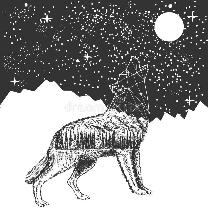 La copie de T-shirt de tatouage de loup et de ciel nocturne d'hurlement de vecteur conçoivent illustration stock