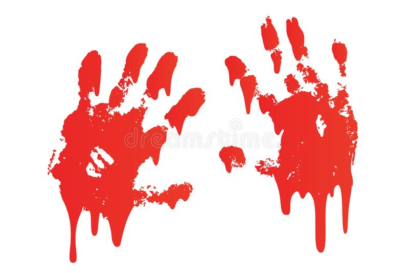 La copie ensanglantée de main a placé le fond blanc d'isolement Handprint effrayant de sang d'horreur, empreinte digitale Paume r illustration libre de droits