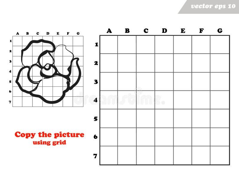 La copie a monté fleur avec les lignes de grille illustration de vecteur