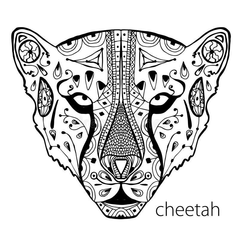 La copie noire et blanche de guépard avec les modèles ethniques Livre de coloriage pour des adultes antistress Thérapie d'art illustration de vecteur