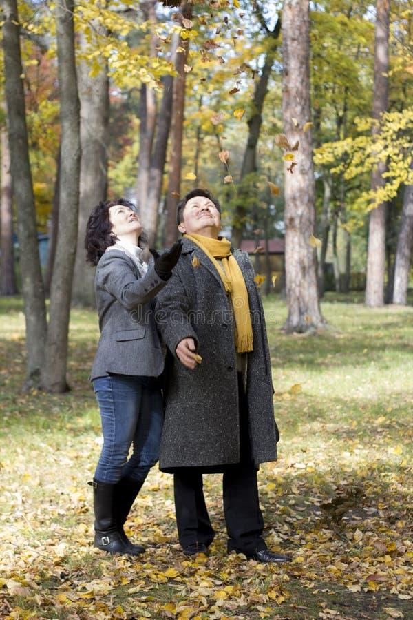 La coppia di mezza età cammina nella foresta di autunno immagine stock libera da diritti