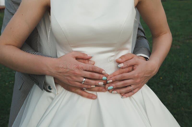 La coppia elegante di nozze sta abbracciando all'aperto Sposo in vestito grigio a quadretti e cravatta a farfalla blu-chiaro tiff immagine stock libera da diritti