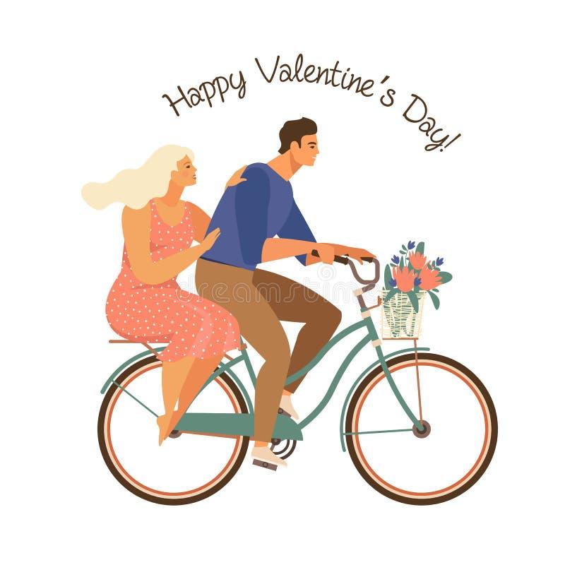 La coppia felice sta guidando insieme una bicicletta ed il giorno di biglietti di S. Valentino felice Vettore dell'illustrazione  illustrazione di stock
