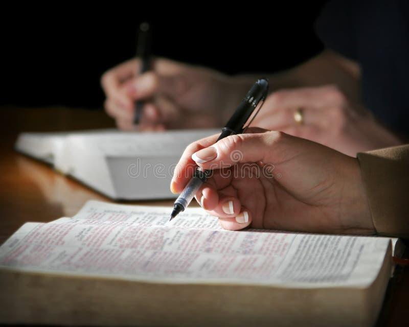 La coppia studia la bibbia fotografia stock