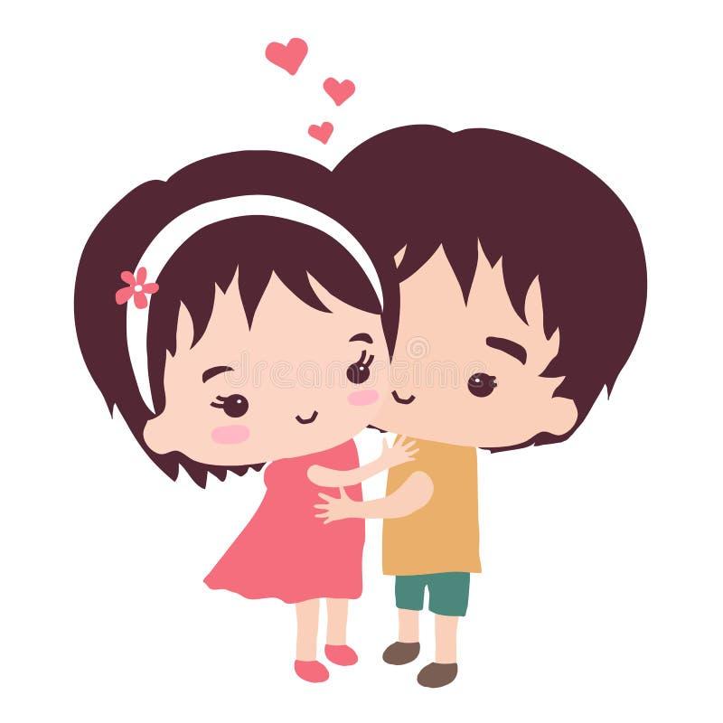 La coppia sveglia si abbraccia delicatamente illustrazione di stock