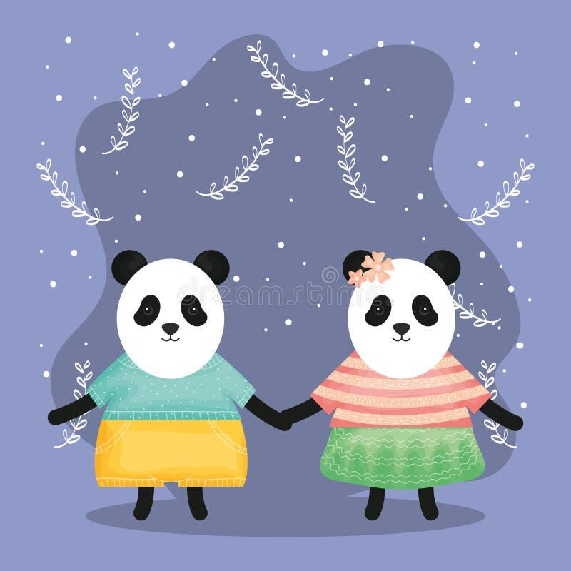 La coppia sveglia sopporta il panda con i caratteri dei vestiti illustrazione vettoriale