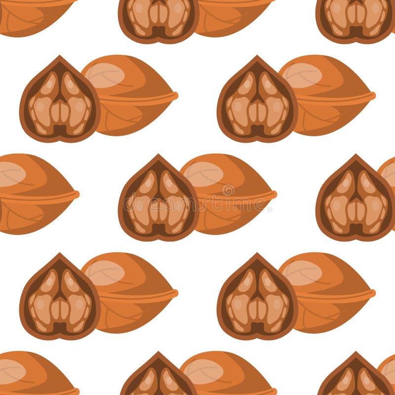 La coquille de noix saine d'ornement de fond de nourriture de nack nuts traditionnel sans couture de modèle de noix wallpapers l' illustration libre de droits