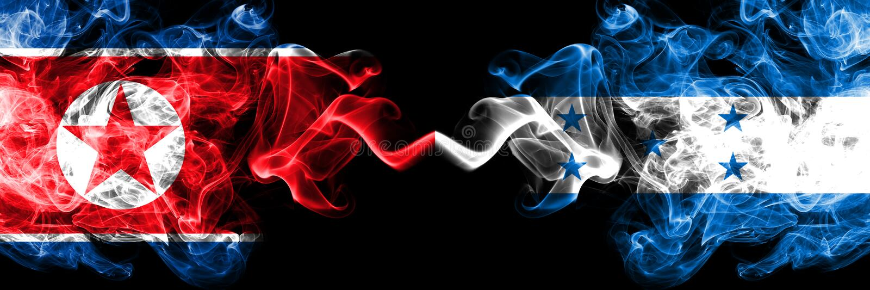 La Corée du Nord contre le Honduras, drapeaux mystiques fumeux honduriens placés côte à côte Drapeaux soyeux color?s ?pais de fum illustration de vecteur