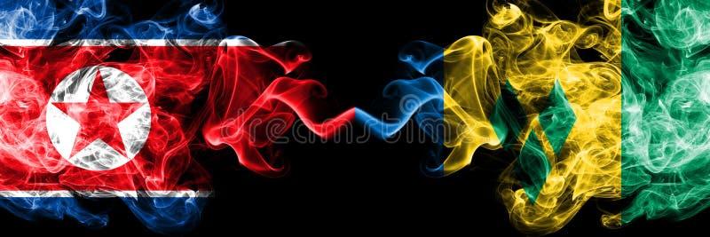 La Corée du Nord contre les drapeaux mystiques fumeux de Saint-Vincent-et-les-Grenadines placés côte à côte Drapeaux soyeux color illustration libre de droits