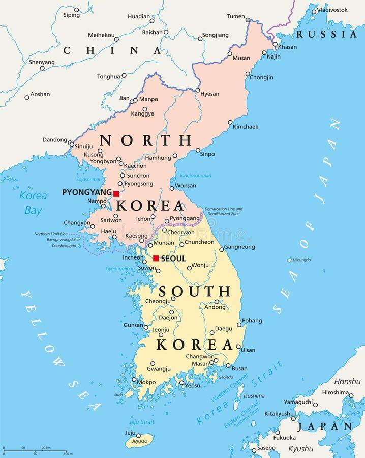 La Corée du Nord et la carte politique de la Corée du Sud illustration de vecteur