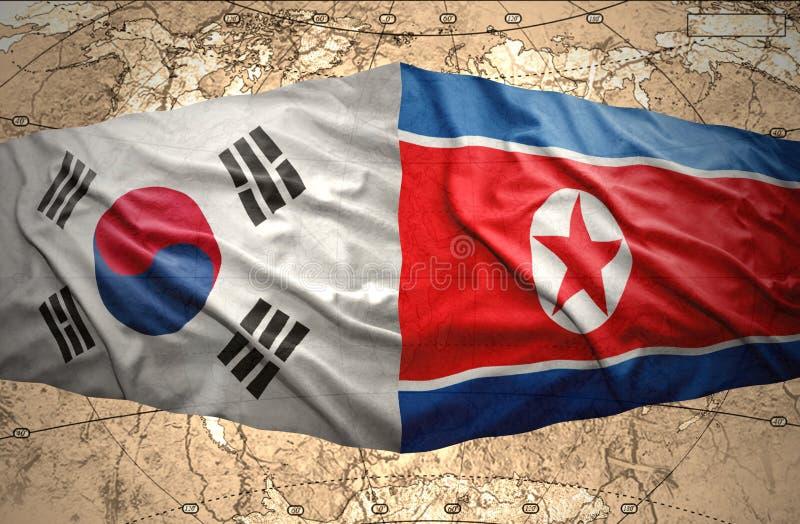 La Corée du Nord et la Corée du Sud illustration libre de droits