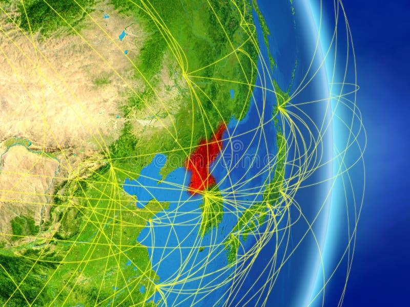 La Corée du Nord sur terre de planète de planète avec le réseau Concept de connectivité, voyage et communication illustration 3D  illustration de vecteur