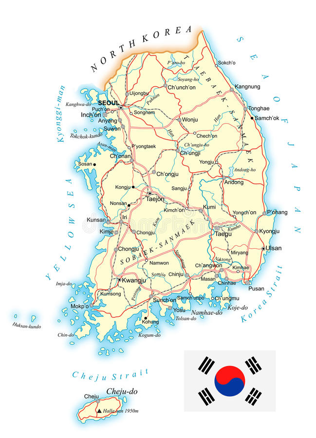 La Corée du Sud - carte topographique détaillée - illustration illustration libre de droits