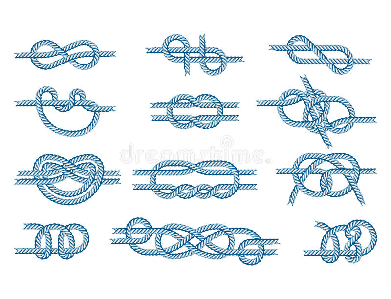 La corde de bateau de mer noue le signe naturel d'attirail de câble marin de marine d'isolement par illustration de vecteur illustration stock