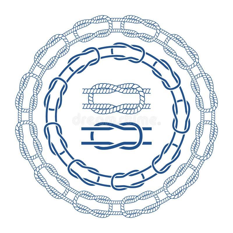 La corde nautique de mer noue la brosse de lecture de bordes illustration stock