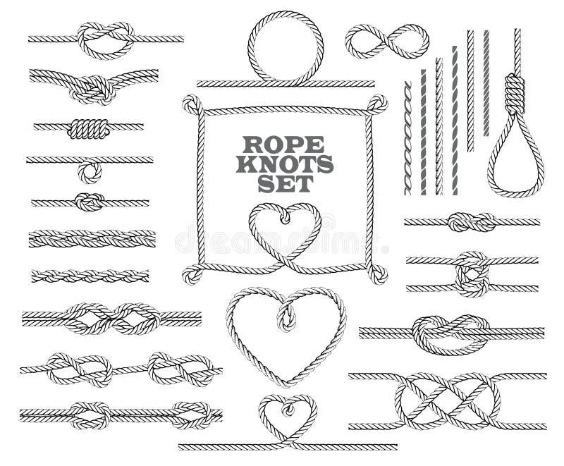 La corde noue la collection Éléments décoratifs sans couture illustration de vecteur