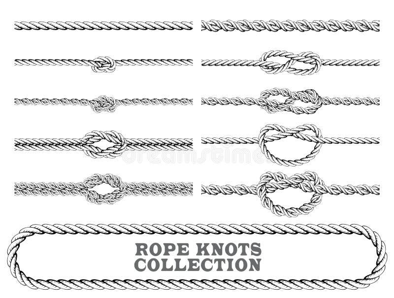 La corde noue la collection Renversé, chiffre de huit et noeud carré Éléments décoratifs sans couture illustration stock