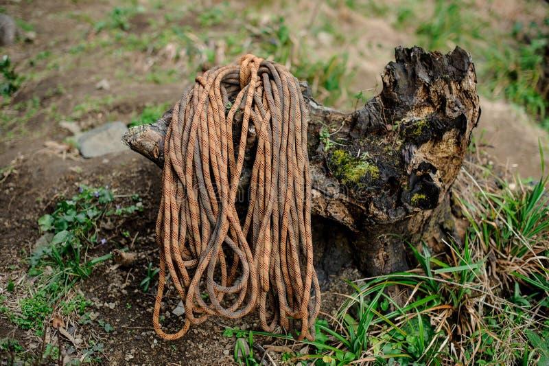 La corde s'élevante d'une manière ordonnée pliée se trouve sur un vieux tronçon d'arbre défraîchi photo stock