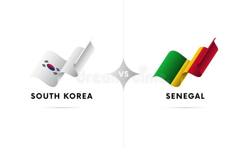 La Corea del Sud contro il Senegal Calcio Illustrazione di vettore illustrazione di stock