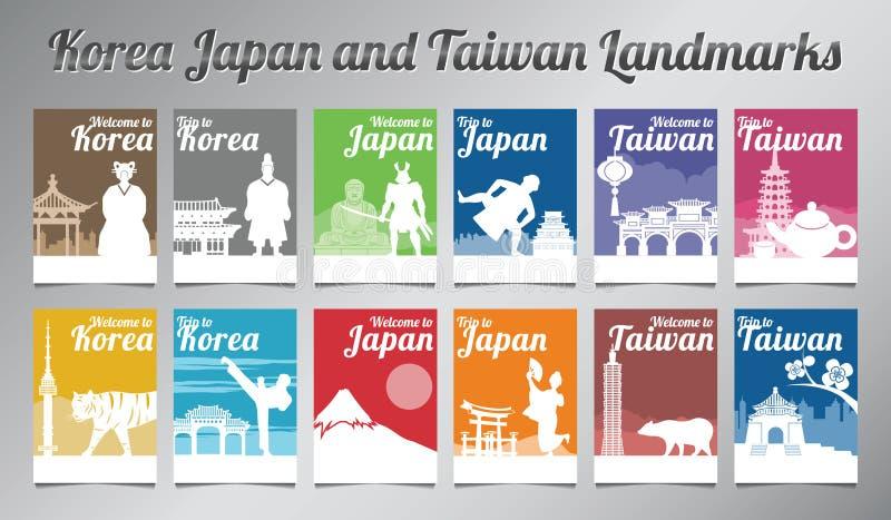 La Corea Giappone e punto di riferimento famoso e simbolo di Taiwan nella progettazione della siluetta con il multi insieme dell' illustrazione di stock