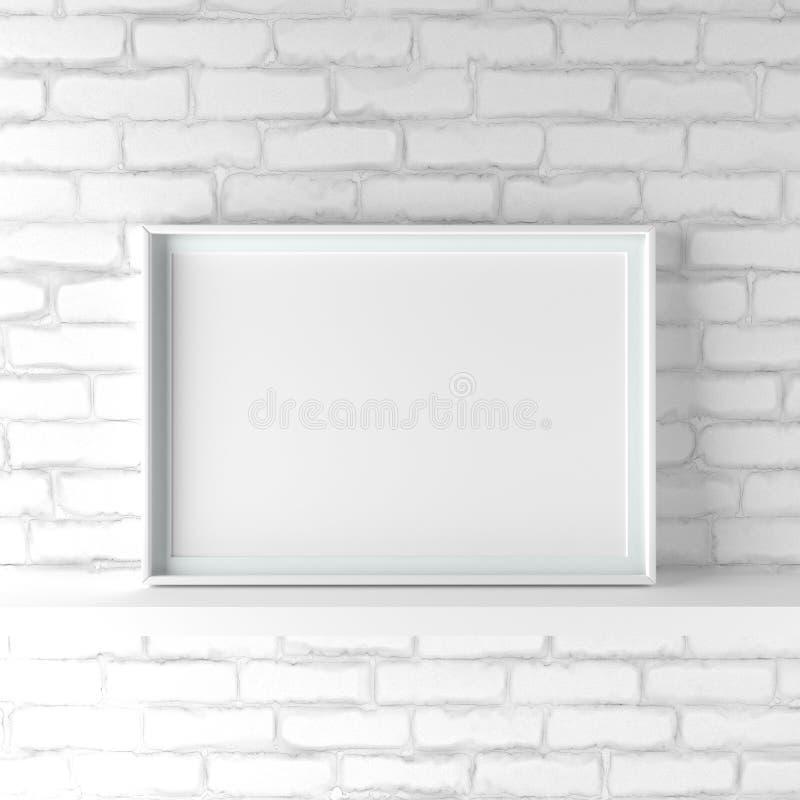 La cornice del paesaggio di Minimalistic che sta sul bianco ha dipinto la b fotografia stock