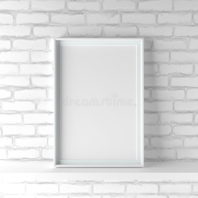 La cornice del ritratto di Minimalistic che sta sul bianco ha dipinto il Br immagini stock libere da diritti