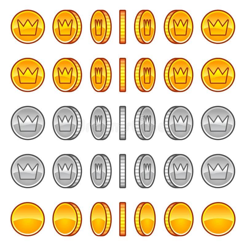 La corona acuña sprites de la animación de la rotación stock de ilustración