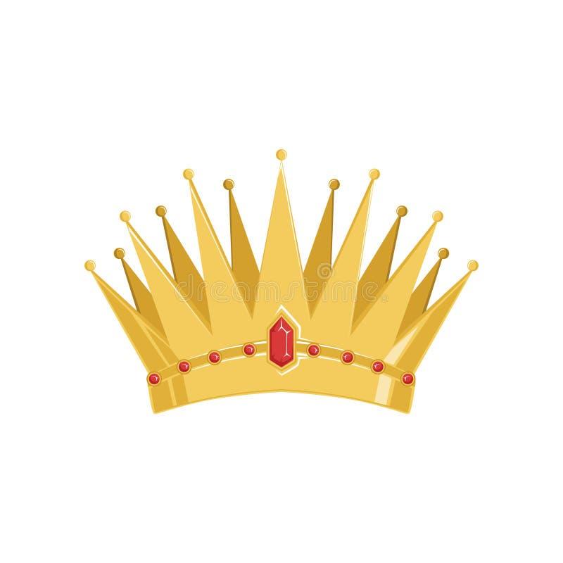 La corona antigua de oro con las piedras preciosas vector el ejemplo libre illustration
