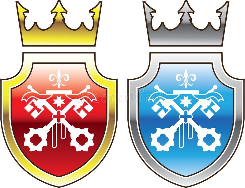 La corona blu rossa dello schermo reale ha attraversato il logo di chiavi royalty illustrazione gratis