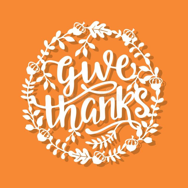 La corona d'annata di caduta di ringraziamento dà il taglio della carta di frase di ringraziamenti royalty illustrazione gratis