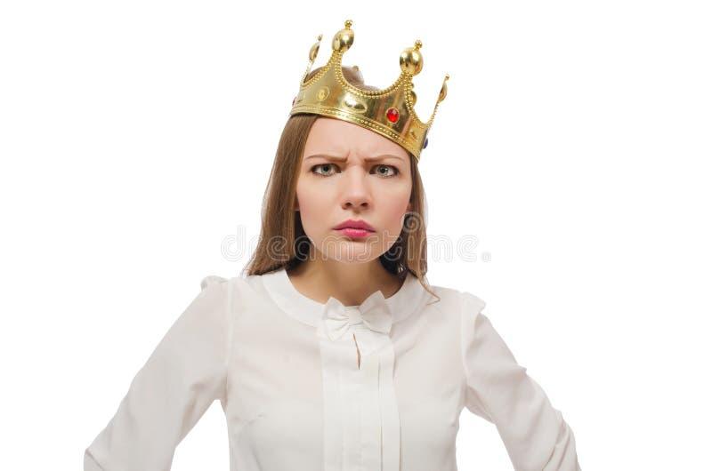 La corona d'uso della regina della donna isolata su bianco fotografie stock