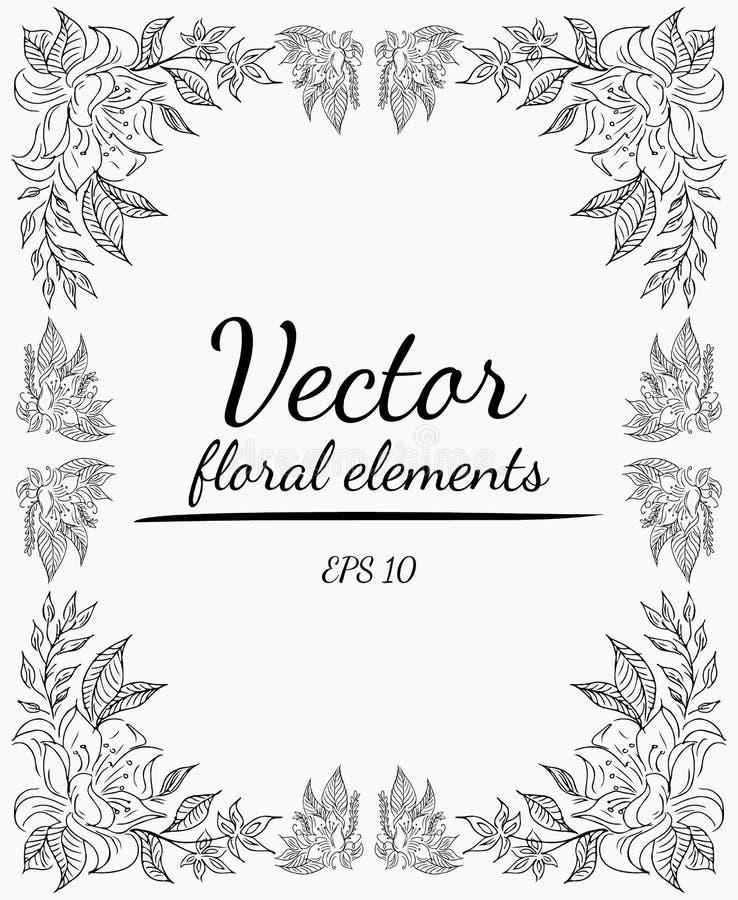 La corona dei fiori delle rose si ramifica su un fondo grigio Illustrazione disegnata a mano di vettore Elementi floreali di vett immagini stock