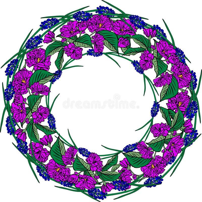 La corona dei fiori porpora di sakura e della molla blu fiorisce, s vuota illustrazione vettoriale