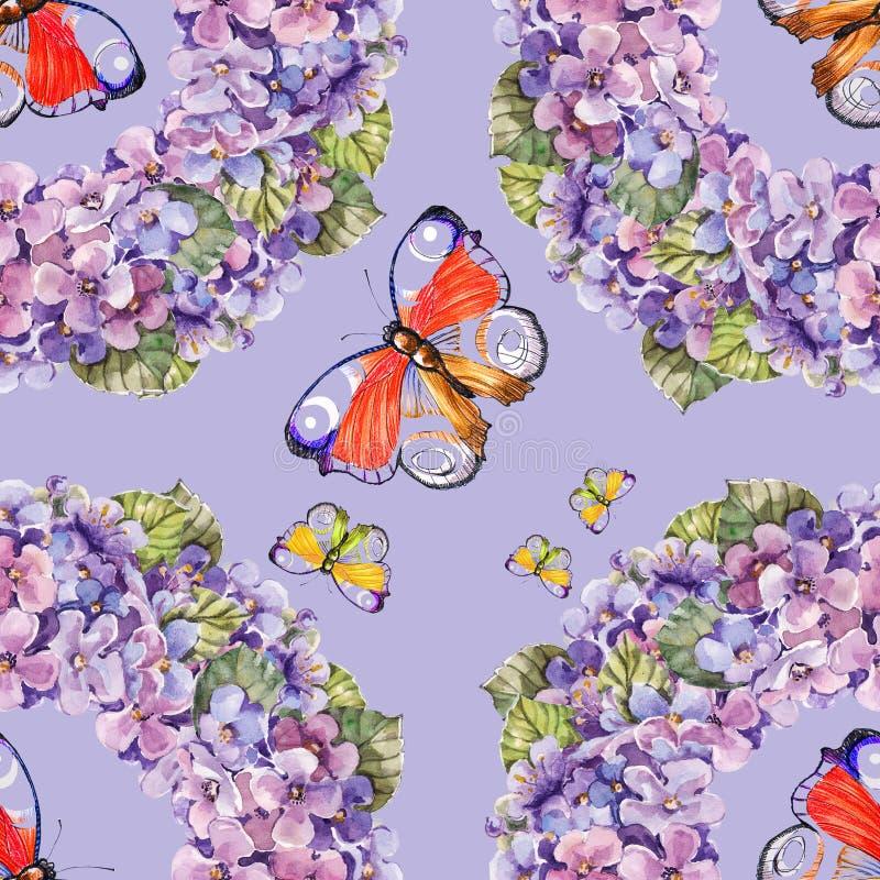 La corona dell'acquerello fiorisce con la farfalla su un fondo viola seamlessly illustrazione vettoriale