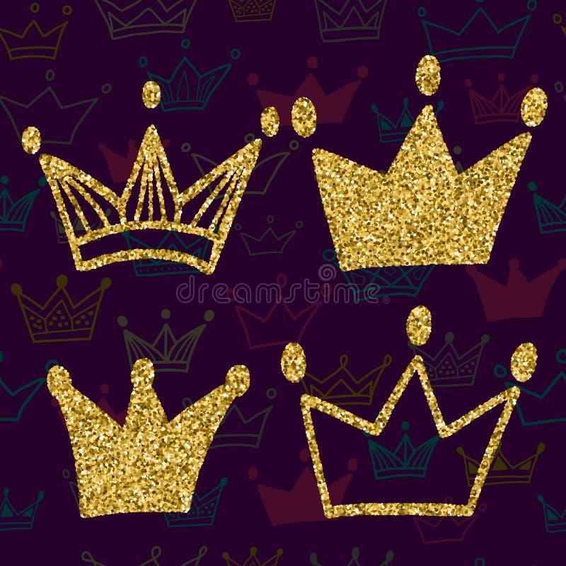 La corona dell'oro ha messo su fondo scuro con il modello senza cuciture Scintilli fissati delle corone di re Illustrazione di ve royalty illustrazione gratis