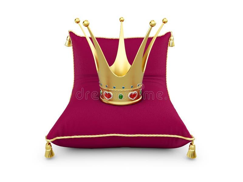 La corona di principessa dell'oro sul cuscino dei magenta ha isolato l'illustrazione bianca 3d royalty illustrazione gratis