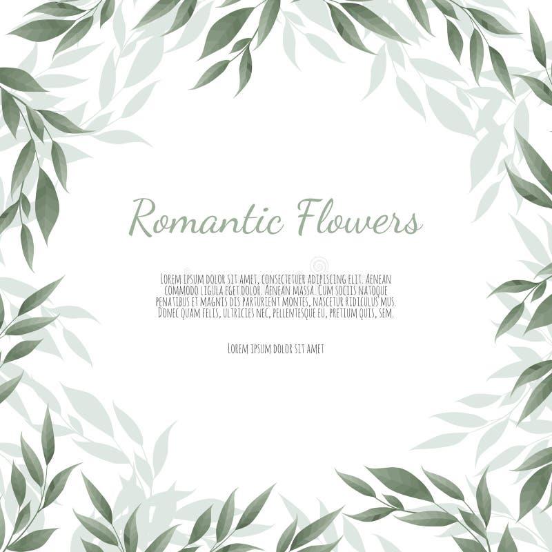 La corona floreale con l'eucalyptus verde va, fiore è aumentato, anemone Confine della pagina con lo spazio eps10 della copia illustrazione vettoriale