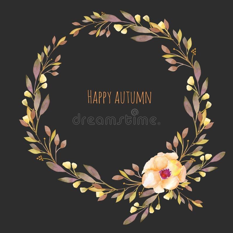 La corona floreale di autunno con il fiore e la caduta dell'acquerello si ramifica royalty illustrazione gratis