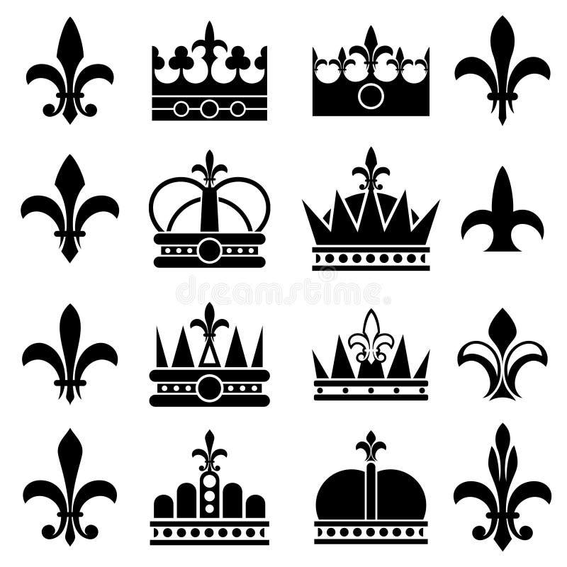 La corona y la flor de lis, lirio florece iconos reales del vector ilustración del vector