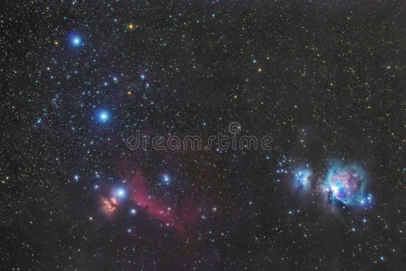 La correa en el cielo del invierno, estrellas Alnitak, Alnilam, Mintaka, nebulosa de Horsehead, Orion Nebula de Orión foto de archivo libre de regalías