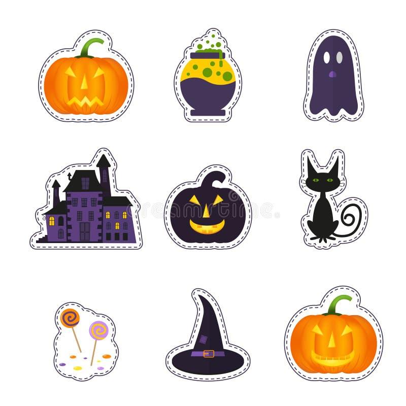 La correction heureuse de Halloween badges avec le fantôme, potiron, batte, chat, cand illustration stock