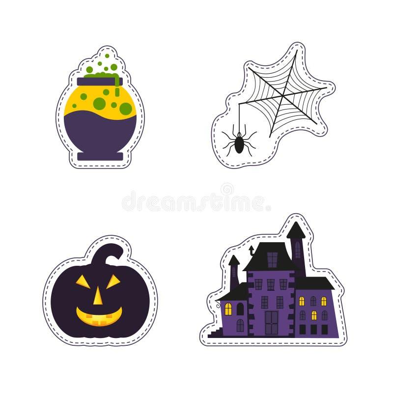 La correction heureuse de Halloween badges avec le fantôme, potiron, batte, chat, cand illustration libre de droits