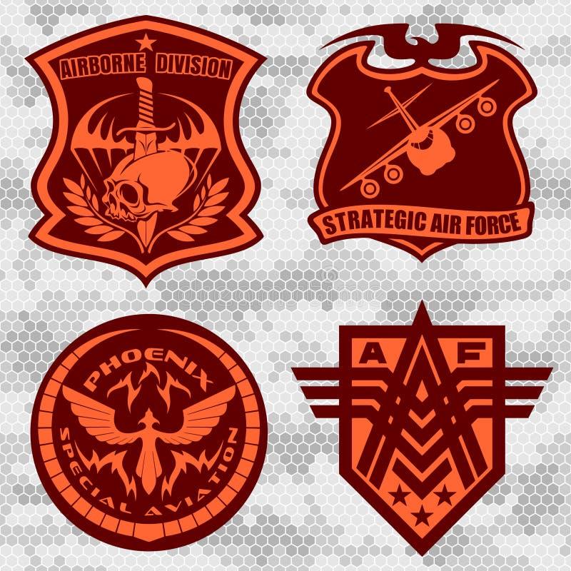 La correction militaire d'armée de l'air a placé - des insignes de forces armées et marque le logo illustration libre de droits