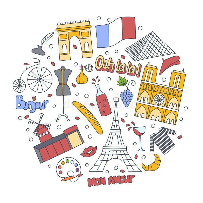 La correction tirée par la main badges avec des symboles de Frances - voûte triomphale du Moulin rouge de Tour Eiffel, croissant  illustration libre de droits